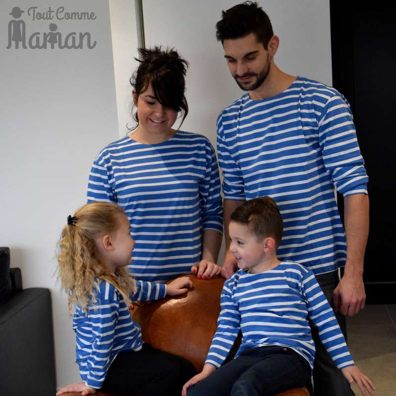 look famille tee shirt breton adulte et enfant tout comme maman. Black Bedroom Furniture Sets. Home Design Ideas