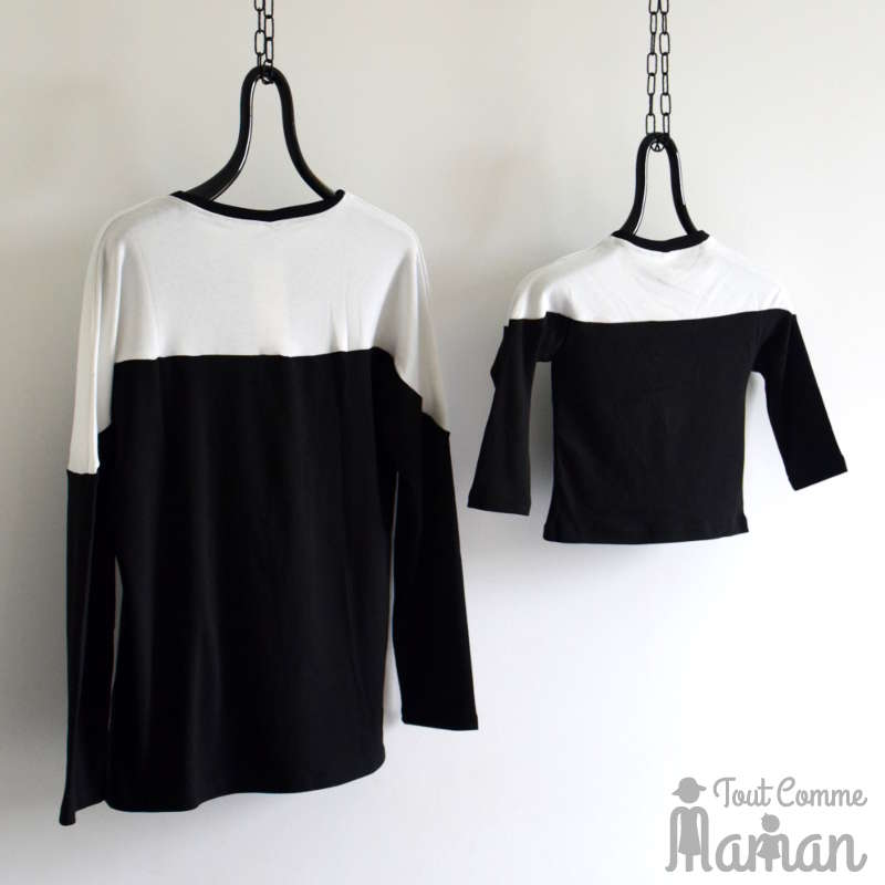 V tement m re fille pull black and white tout comme maman - Vetement mere fille identiques ...