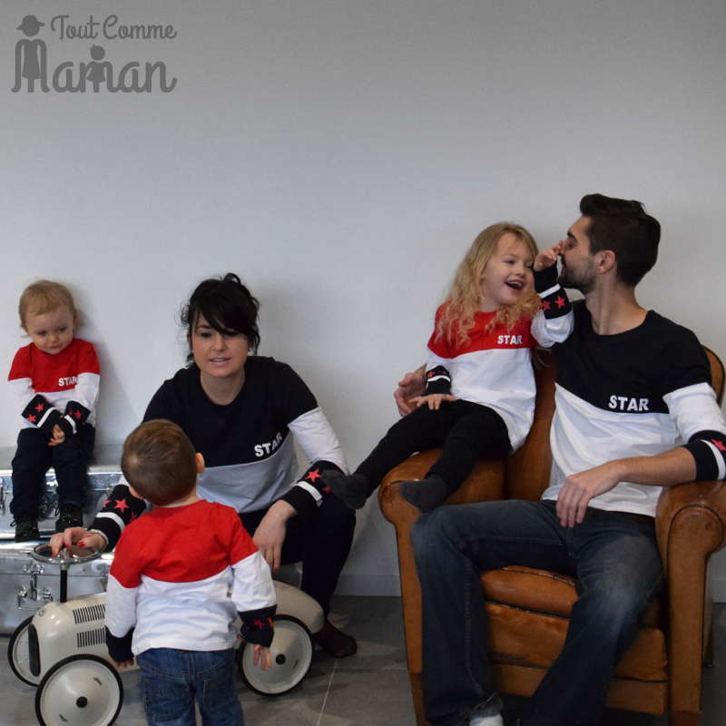 maman bebe tee shirt star famille identique tout comme maman. Black Bedroom Furniture Sets. Home Design Ideas