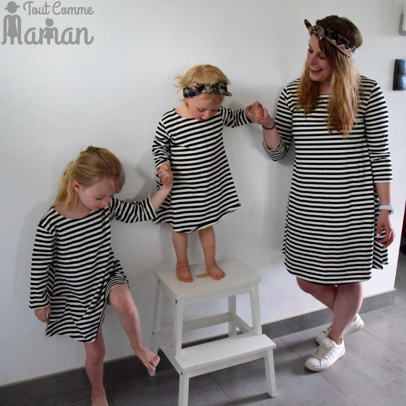 Robe mere fille tenue mere fille pareil vetements maman bebe robe assorti look famille rayure - Vetement assorti maman bebe ...