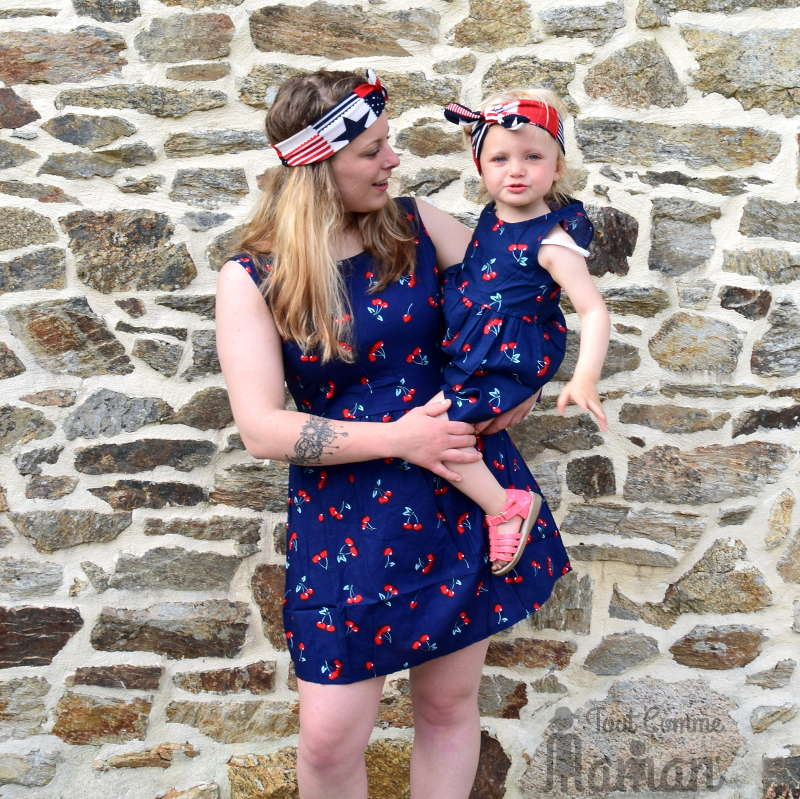 Robe mere fille tenue mere fille pareil vetements maman bebe robe assorti look famille rayure - Robe mere fille ...