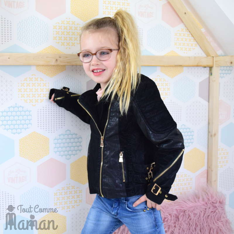 veste cuir tendance enfant fille comme maman tout comme maman. Black Bedroom Furniture Sets. Home Design Ideas