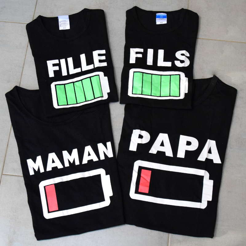 tee shirt assorti batterie maman papa fille fils tout. Black Bedroom Furniture Sets. Home Design Ideas